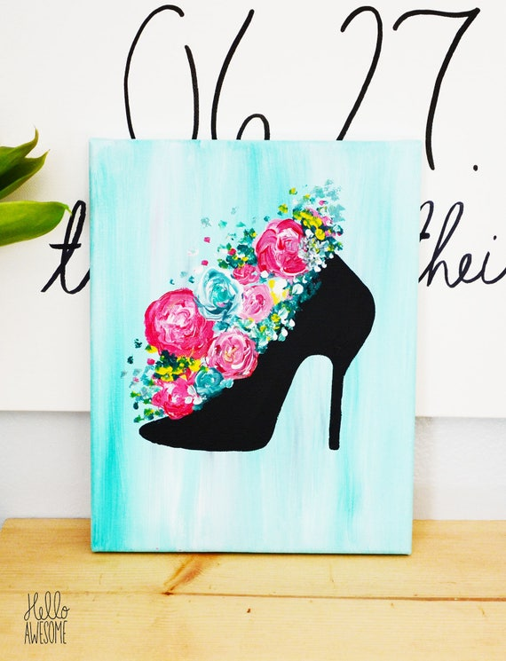 Walk in Bloom Modest Fashion Spring Floral Bouquet Canvas Painting 8x10 Wall Art