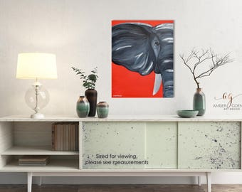 Elephant Painting, Alabama Elephant, Animal Painting, Elephant, 16in x 20in, Roll Tide, Affordable Wall Art