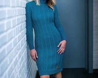 Hand knit aran style dress, merino wool cable dress, long sleeves turtleneck knit dress, made to order, custom hand knit stylish dress
