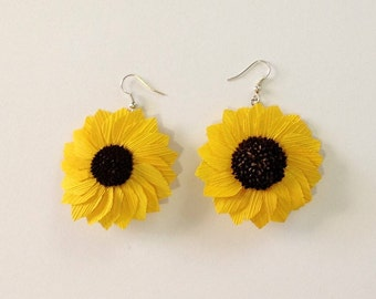 Mexican Earrings Corn Husk Sunflower Drop Earrings Jewelry Earrings Handmade Dangle Earrings Mexican Jewelry