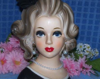 "Authentic Napco Napcoware 7"" Lady Head vase 1950's Headvase Vintage ""Shirley Temple Teen Actress""Pfct@!"