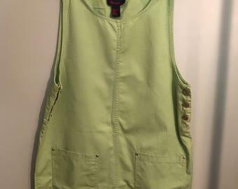 Bright Green Denim Bib Dress