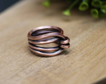 Oxidized Wireform Copper Ring