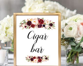 Cigar Bar Sign, Cigar Bar Sign Printable, Printable Wedding Sign, Wedding Bar Sign, Floral Wedding, Rustic Wedding, #D021