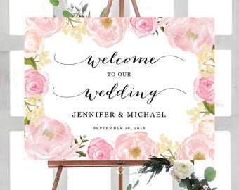 Wedding Welcome Sign Template, Ceremony Sign Printable, Wecome To Our Wedding, Printable Welcome Sign, Printable Wedding Sign, Blush Floral