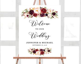 Wedding Welcome Sign Template, Welcome Sign Printable, Ceremony Welcome Sign, Printable Wedding Sign, Floral Wedding, Burgundy
