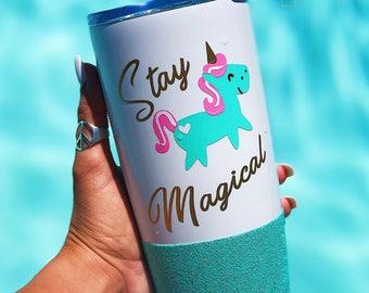 Stay Magical//Unicorn Travel Mug//Glitter Dipped// Stainless Mug