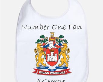 Personalised Football Rugby Baby Bib With Logo And Name