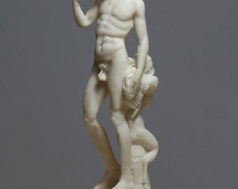 """Greek Roman God Dionysus """"Bacchus & Faun by Michelangelo"""" Statue Sculpture 6.7"""" - 17 cm **Free Shipping - Free Tracking Number**"""
