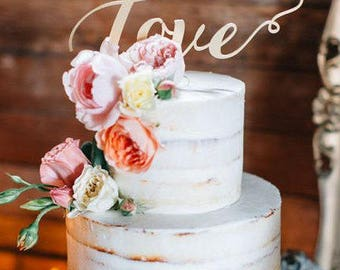 "Wedding Cake Topper Love  - Gold Cake Topper - Please Enter your phone number in the ""NOTE to the seller"""