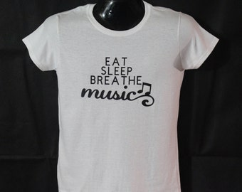 Eat, sleep, breathe music women's t-shirt
