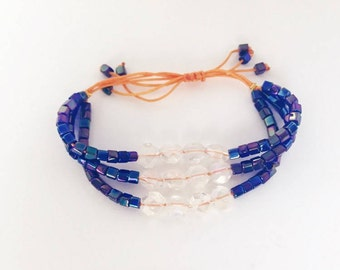 Blue and Orange Glass Beaded Bracelet - Beaded Bracelet - Blue Adjustable Bracelet