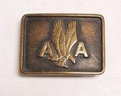 Vintage 1978 Anacortes Brass Works LTD, American Airlines Employee  Brass Belt Buckle  Washington No. #  98321