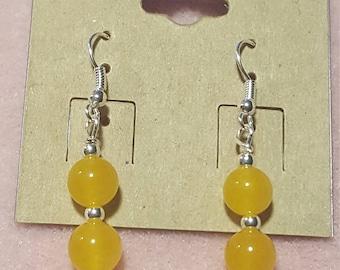 Yellow Jade bead silver earrings