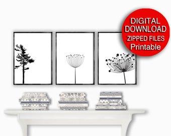 Printable Decor, Scandinavian Print, Black and White, Nature Art, Set of 3 Prints, 8x10 16x20