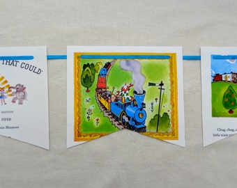 2 BOOK BANNERS TRAIN Little Engine that Could Book Blue Locomotive Railroad Choo Choo Think I Can Garland Bunting Flag