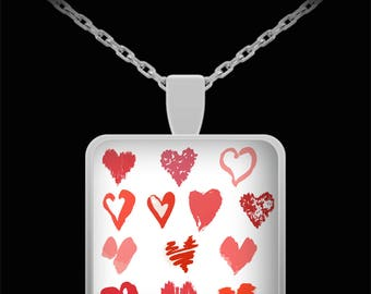 Hearts of Love Square Necklace Stylish Valentine's Jewelry Art Anniversary Birthday Missing You Gift