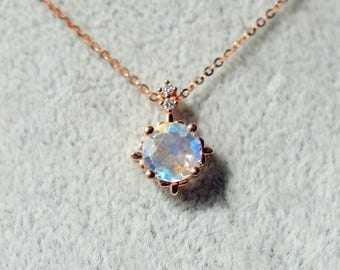Rainbow Moonstone Necklace Rose Gold Moonstone Necklace 18k 14k Gold Moonstone Necklace Moonstone Jewelry Rainbow Moonstone Blue Moonstone