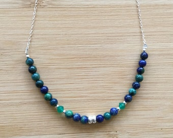 Chrysocolla Necklace, Sterling Silver Necklace, Blue Beaded Necklace, Chrysocolla Jewelry, Green Onyx and Blue Gemstone Necklace