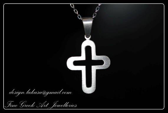 Cross Sterling Silver Handmade Jewelry Fine Greek Art Baby boy girl Shower Day Mother Religious Baptism Christian Gift Men Collection Unisex
