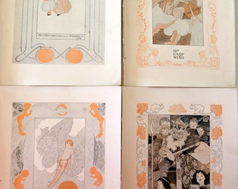 Four 1903 Children's Nursery Rhymes Lithographs illustrated by Charles Robinson