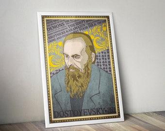 Fyodor Dostoevsky poster Russian Writer Wallart Brothers Karamazov Literature gift The Idiot Art Crime and Punishment Demons book home decor
