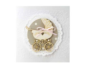 Lovely Carriage - White, Baby, Invitations Invitation, Baptism, Baby Shower