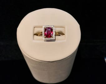 Vintage Cultured Antique Ruby Ring VRW-68