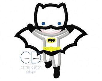 Super Hero Applique Design, Super Hero Embroidery Design, Bat Boy