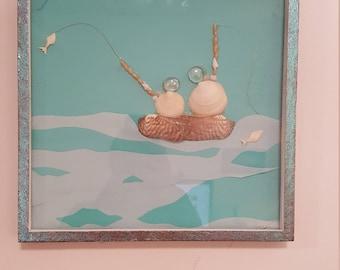 "Wall Art- Framed shadow box shell art ""I'd rather be fishing"""