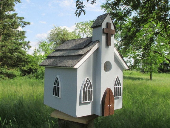 Church Birdhouse Chapel Bird House Outdoor Wood Birdhouse