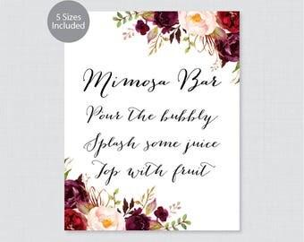 Printable Mimosa Bar Sign - Marsala Floral Mimosa Bar Sign - Rustic Flower Wedding Bar Sign or Poster, 5x7, 8x10, 11x14, 16x20, 18x24 0006