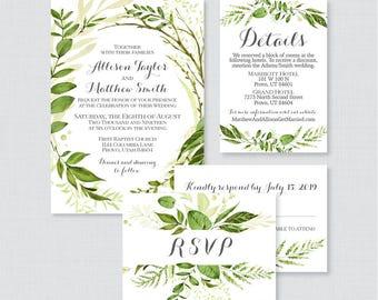 Printable OR Printed Wedding Invitation Suite - Green Wreath Wedding Invitation Package - Rustic Greenery Botanical Leaf Wedding Invite 0007