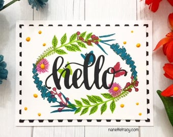 C021 - Handmade Hello Floral Wreath Greeting Card - Friendship Card