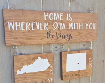 Merveilleux Home Is Wherever Iu0027m With You Wooden Sign | Military Sign | Military Family