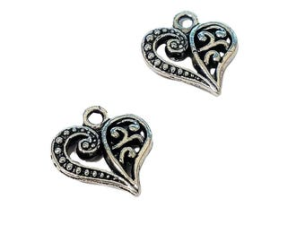 4 or 20 BULK Silver Heart Charms | Antique Silver Heart | Scroll Heart Charms | Love Charm | Anniversary | Ready to Ship from USA | AS099