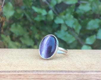 Sterling Silver Fluorite Ring / Sterling Silver Ring / Purple Fluorite Ring / Oval Fluorite Ring / Large Fluorite Ring / Statement Fluorite