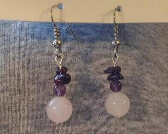 Rose quartz, amethyst, garnet earrings
