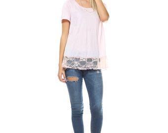 Pink Lace High Low Top, Tunic, Scoop Neck, Contrast, Lace, Size S M L XL - Made in USA