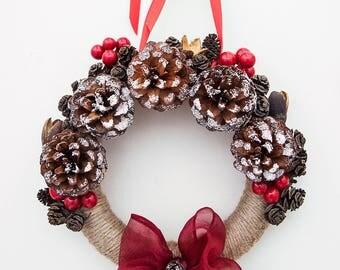 Unique Pine Cones Door Wreath Handmade Chic Festive Home Christmas Decor