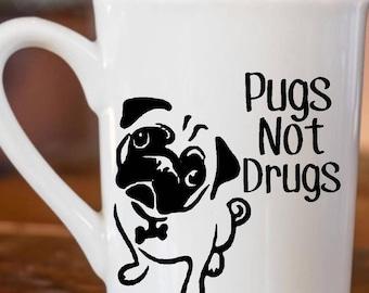Pugs Not Drugs Coffee Cup