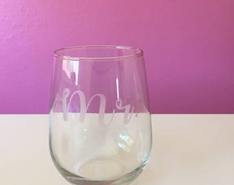 Mr. Etched Stemless Wine Glass