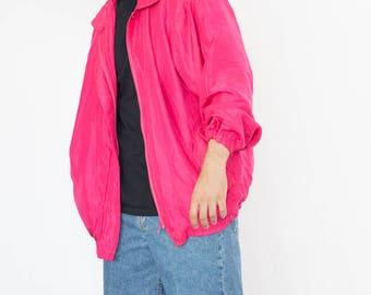 Vintage 90s Hot Pink Bomber Jacket