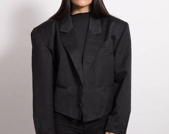 Vintage 90s Black Blazer with Shoulder Pads