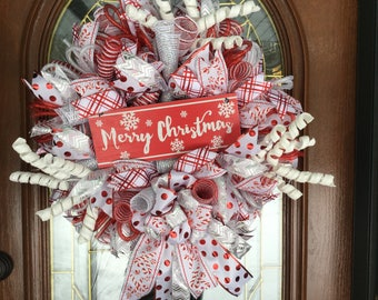 Merry Christmas Holiday Candy Cane Snowflake Deco Mesh Wreath for Front Door