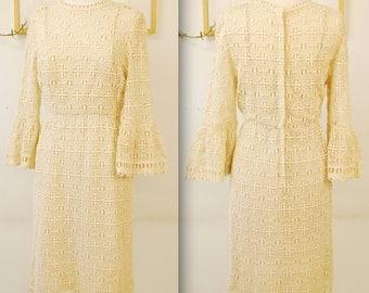 1960's Cream SHERKIN-ETTE Louis Vuitton Inspired Knit Dress / Evening Dress / Mad Men / Rare Collectible Retro
