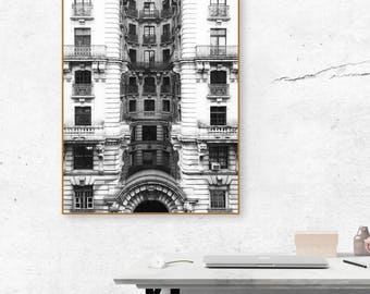 Upper West Side, Manhattan Building | B&W Photograph | Instant Digital Download