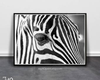 Safari Animal Print, Zebra Print, Modern Wall Decor, Wall Art Print, Black and White Art, Printable Art, Kids Room Poster, Animal Wall Art