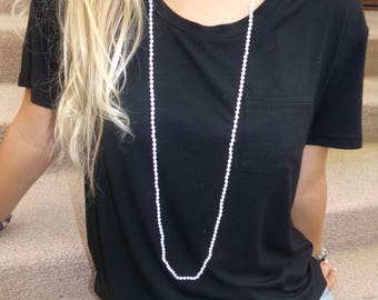 White double wrap beaded necklace, Small beaded double wrap necklace