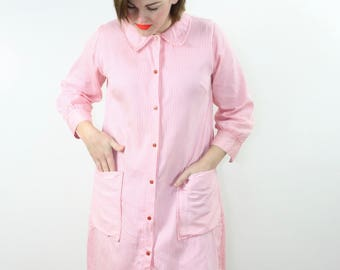 Vintage Button Up Dress / Long Sleeve Pink Striped Shift / 70's DANVILLE Medium